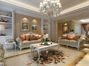 ,180平,15万,欧式,四居,客厅,黄白,