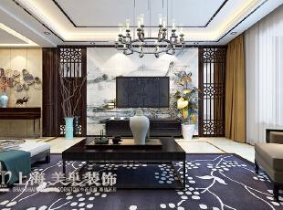滨河名家166平方新中式风格装修效果图——电视背景墙装修效果图,166平,7万,中式,三居,客厅,原木色,