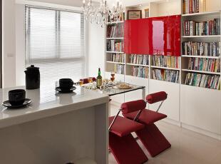 旁边是书柜墙,增加收纳空间。,88平,10万,简约,两居,餐厅,红白,