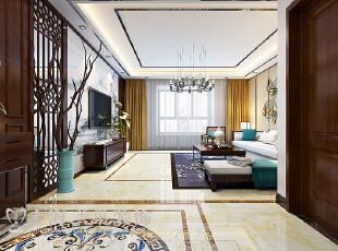 郑州滨河名家166平方新中式风格装修方案——门厅装修效果图,166平,7万,中式,三居,客厅,原木色,白色,