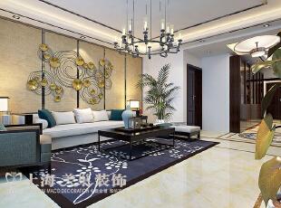 滨河名家166平方新中式风格装修案例——沙发背景墙装修效果图,166平,7万,中式,三居,客厅,黄白,
