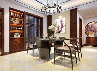 滨河名家166平方新中式风格装修样板间——餐厅装修效果图,166平,7万,中式,三居,餐厅,原木色,白色,