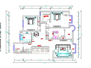 滨河名家166平方新中式风格装修户型图,166平,7万,中式,三居,