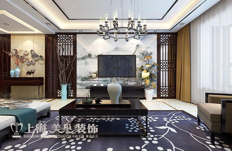 滨河名家166平方新中式风格装修方案——客厅装修效果图