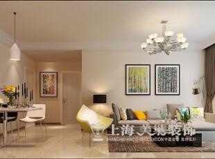蓝海港湾99平两室两厅现代简约风格装修方案——客餐厅装修效果图,99平,7万,现代,两居,客厅,白色,