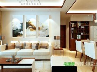 """要想家居美,就选宅速美 全国首创""""一口价""""装修模式 集设计、施工、材料、家具、售后为一体,家庭装修系统化,规模化,材料小到开关插座,大到洁具,家具,橱柜等纳入整个家装生产流程,形成""""工厂化""""为主导的家装模式。,124平,83800万,中式,三居,客厅,白色,原木色,"""