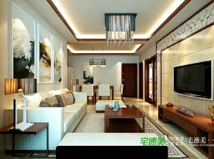 """要想家居美,就选宅速美 全国首创""""一口价""""装修模式 集设计、施工、材料、家具、售后为一体,家庭装修系统化,规模化,材料小到开关插座,大到洁具,家具,橱柜等纳入整个家装生产流程,形成""""工厂化""""为主导的家装模式。,124平,83800万,中式,三居,客厅,黄白,"""