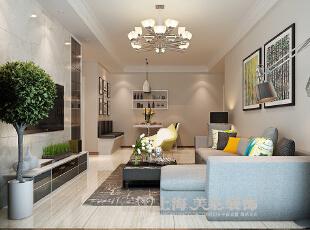 郑州蓝海港湾99平两室两厅现代简约风格装修样板间——沙发背景墙装修效果图,99平,7万,现代,两居,客厅,白色,