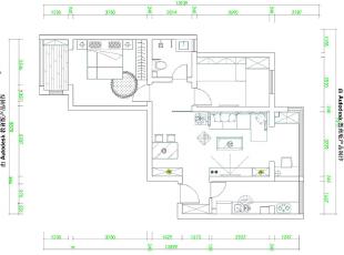 蓝海港湾99平两室两厅现代简约风格装修方户型图,99平,7万,现代,两居,