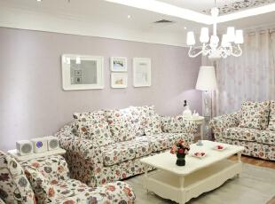 ,97平,11万,田园,两居,客厅,白色,紫色,