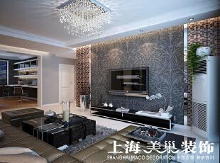 瀚宇天悦131平方三室两厅客厅装修效果图---电视背景墙的造型是马赛克和亮面的不秀钢及灰色的壁纸结合,现代又大方,浅灰色的墙面和白色的门搭配,配上冷色的家具,让整个空间更加的现代,简洁。,131平,9万,三居,现代,客厅,黑白,