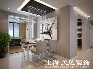 郑州瀚宇天悦131平方三室两厅装修效果图---餐厅,厨房和餐厅的空间较小,把厨房做成开放式的,整个餐厅厨房连在一起,空间显的更大,餐厅顶面通过吊顶把餐厅和走道之间的空间形成划分。,131平,9万,三居,现代,餐厅,灰白,