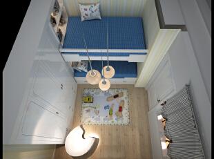 ,75平,5万,田园,两居,卧室,白蓝,