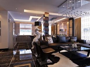 【南昌实创整体家装】客厅新古典风格,145平,20万,新古典,四居,客厅,现代,黑白,
