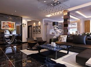 【南昌实创整体家装】客厅新古典风格,145平,20万,新古典,四居,现代,客厅,黑白,
