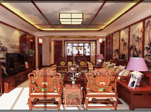 ,150平,20万,中式,三居,客厅,原木色,