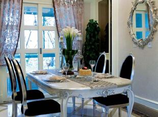 餐厅:墙面简洁的造型平添几许生活气息。斜顶圆形造型和家具相呼应,在绿色植物的点缀下,带给你和家人人舒适的谈话空间。,230平,17万,欧式,四居,餐厅,白色,