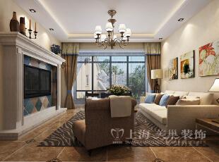 怡丰森林湖108平三室两厅美式乡村风格装修案例-客厅效果图,108平,3万,美式,三居,客厅,黄白,