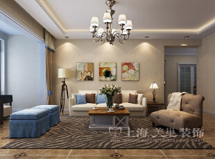 怡丰森林湖108平三室两厅美式乡村风格装修样板间-沙发墙效果图,108平,3万,美式,三居,客厅,黄白,