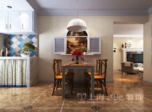 怡丰森林湖108平三室两厅美式乡村风格装修效果图-餐厅效果图,108平,3万,美式,三居,餐厅,黄白,