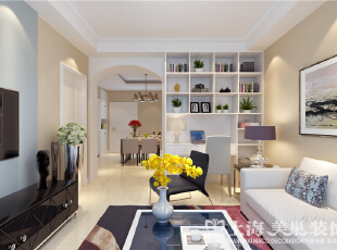 郑州日报社家属院90平两室两厅现代简约装修效果图-客厅效果图,90平,3万,现代,三居,客厅,黄白,蓝色,