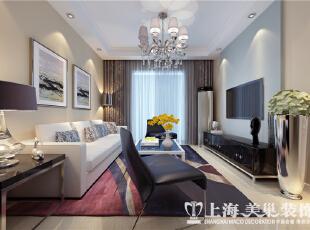 日报社家属院90平两室两厅现代简约装修案例-客厅沙发墙,90平,3万,现代,三居,客厅,黄白,蓝色,