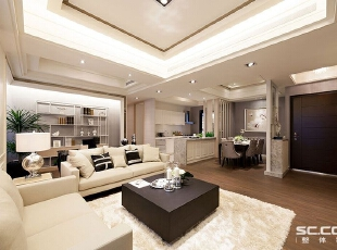 ,113平,15万,新古典,三居,客厅,白色,