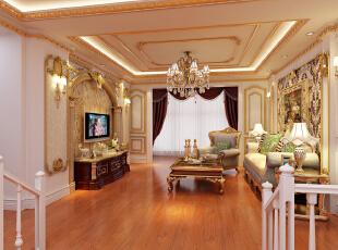 ,190平,25万,欧式,三居,客厅,黄白,