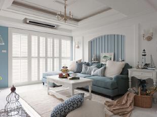 客厅 整体就以蓝白色调装饰起来的客厅,清澈无瑕,诠释着人们对蓝天白云,碧海银沙的无尽渴望。整体上以白色为色调的墙面配上蓝色的布艺沙发,蓝白色调的搭配,如同迎面吹来了一股清新自然的海洋之风。,120平,8万,地中海,三居,客厅,白蓝,