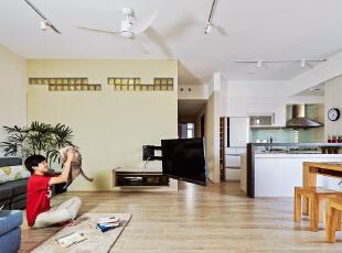 ,100平,7万,现代,三居,客厅,厨房,原木色,