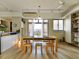 ,100平,7万,现代,三居,客厅,书房,原木色,