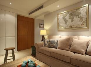 ,100平,7万,三居,现代,客厅,白色,