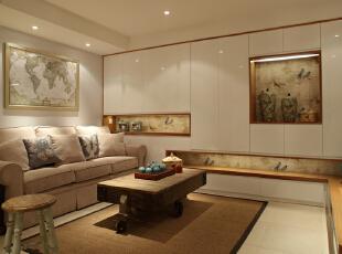 ,100平,7万,三居,现代,客厅,黄白,