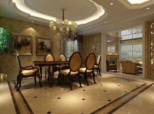 白色、金色、黄色、暗红永远是欧式风格中常见的主色调,设计师将少量白色糅合,使色彩看起来明亮、大方,使整个空间给人开放、宽容的非凡气度,让人丝毫不显局促。,800平,110万,新古典,别墅,餐厅,黄白,