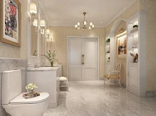 设计师将业主的卫生间进行个性化设置,增加了较多的家具。同时将古典的繁复雕饰简化,并与现代的材质相结合,呈现出古典而简约的新风貌,在色彩的运用上,以金色、白色为主色调,手工制作精细讲究,让人们体会到古典的优雅与雍荣,不禁让人怦然心动。,800平,110万,新古典,别墅,卫生间,黄白,