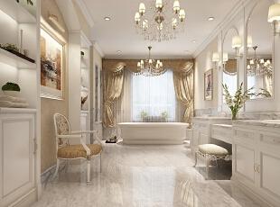 设计师将业主的卫生间进行个性化设置,增加了较多的家具。同时将古典的繁复雕饰简化,并与现代的材质相结合,呈现出古典而简约的新风貌,在色彩的运用上,以金色、白色为主色调,手工制作精细讲究,让人们体会到古典的优雅与雍荣,不禁让人怦然心动。,800平,110万,新古典,别墅,卫生间,白色,
