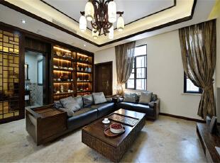 ,118平,12万,中式,两居,客厅,黑白,