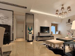 锦艺国际华都89平3室2厅现代简约装修样板间——廊厅装修效果图,89平,6万,现代,三居,客厅,黑白,