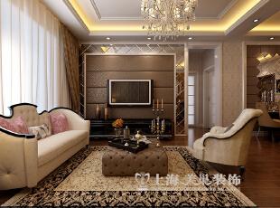 永威东棠90平三室两厅简欧风格装修样板间——电视背景墙装修效果图,90平,6万,欧式,三居,客厅,黄白,