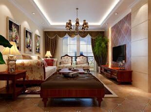 美式乡村客厅效果图,131平,16万,美式,三居,客厅,小资,黄白,