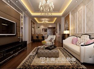永威东棠90平三室两厅简欧风格装修案例——客厅装修效果图,90平,6万,欧式,三居,客厅,黄白,