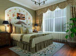 美式乡村卧室效果图,131平,16万,美式,三居,卧室,春色,