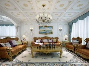 ,310平,60万,别墅,客厅,白蓝,