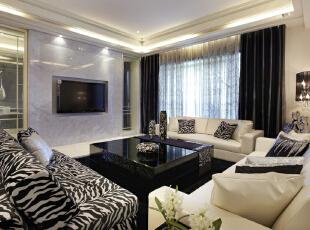 ,260平,50万,新古典,四居,客厅,黑白,