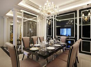 ,260平,50万,新古典,四居,餐厅,黑白,