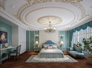 ,425平,三居,卧室,白蓝,