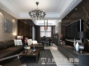 民安北郡187平四室两厅新中式装修效果图案例——客厅:把设计服务与生活,187平,18万,中式,复式,客厅,黑白,
