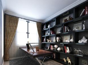 民安北郡四室两厅187平新中式装修效果图案例——书房效果图,187平,18万,中式,复式,书房,黑白,