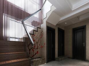 民安北郡187平四室两厅新中式装修效果图案例——楼梯布局,187平,18万,中式,复式,阁楼,棕色,