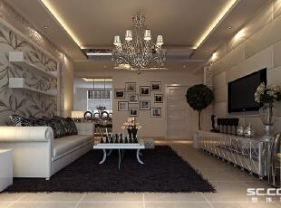 客厅设计: 电视背景墙采用的是皮艺软包,透露着小小奢华,给人干净简洁。沙发背景墙运用的是壁纸和艺术玻璃的结合,银灰白色在叶子图腾显得素雅,中性的色系让空间一直都会长久新鲜。,146平,10万,现代,三居,